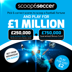 Scoop6 Soccer Jackpot up for grabs for just £2 stake