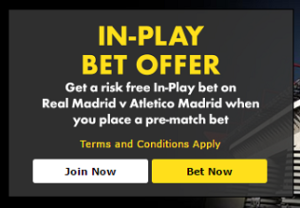 Grab a risk free in-play bet for Real Madrid v Atletico Final!
