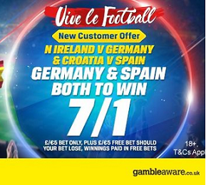 Coral boost Germany & Spain both to win to 7/1