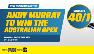 Coral go 40/1 on Murray to win Australian Open