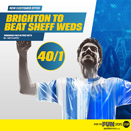 Coral boost Brighton to 40/1 to beat the Owls