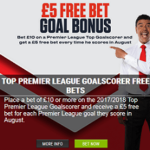 Ladbrokes offer £5 free bet goal bonus on EPL Top Goalscorer